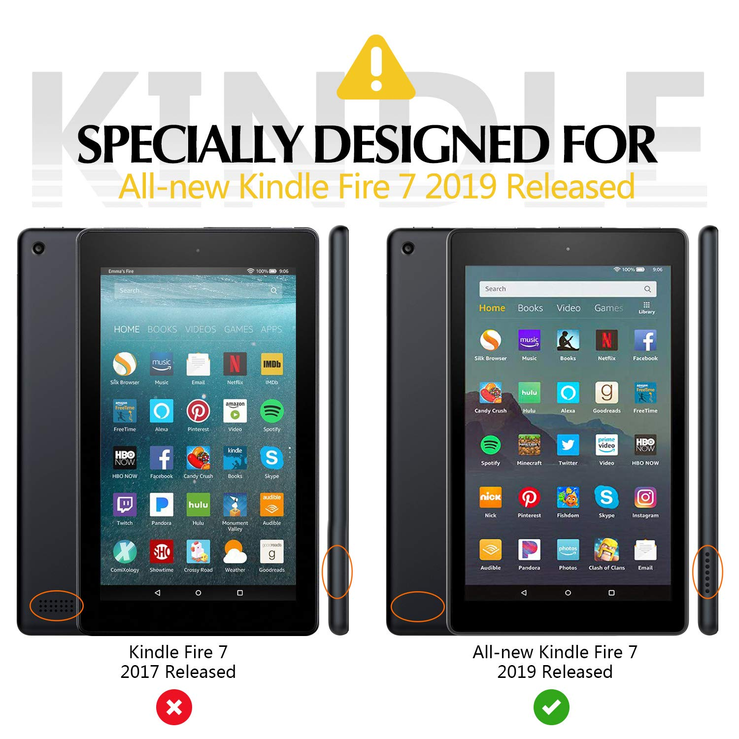 Magnetic Case for Amazon Kindle Fire HD 7 Inch 2017 2019 Released ... | 1500x1500